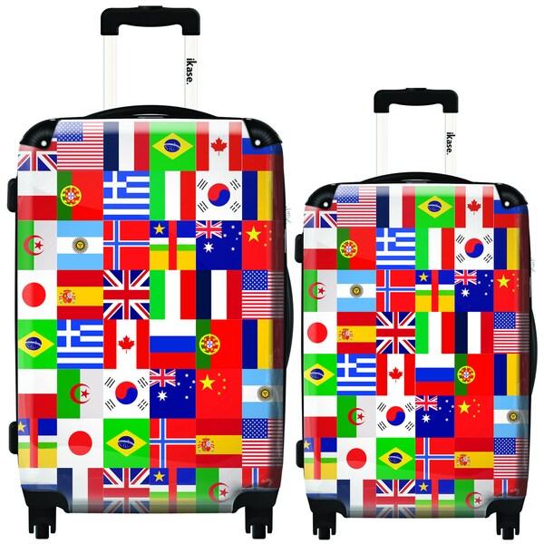 iKase Worldwide Flags 2-piece Hardside Spinner Luggage Set