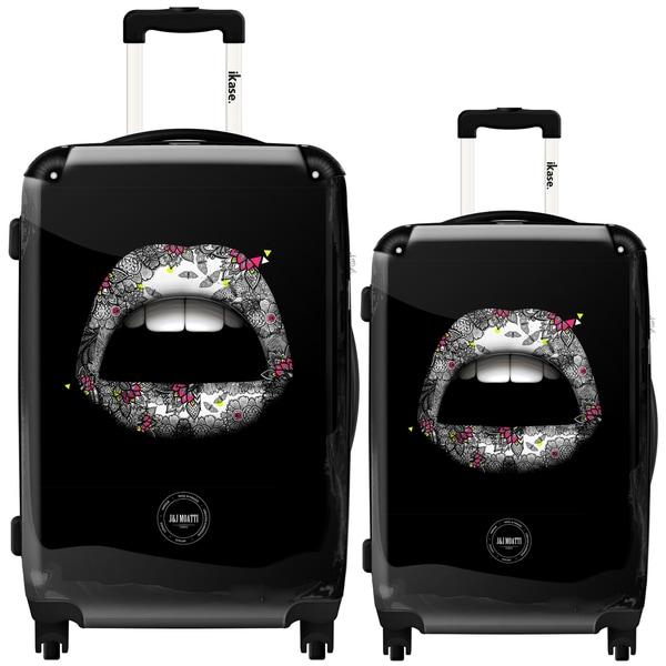 iKase Glamour Lips Blue 2-piece Hardside Spinner Luggage Set