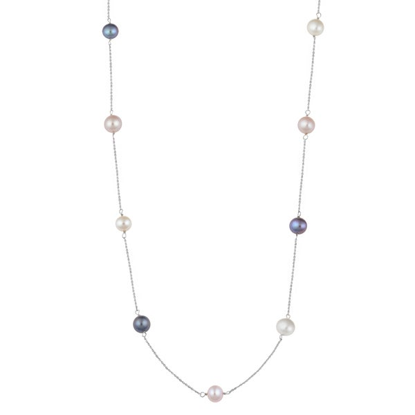 Fremada 14k White Gold Colorful Freshwater Pearls Station Necklace (18 inches)