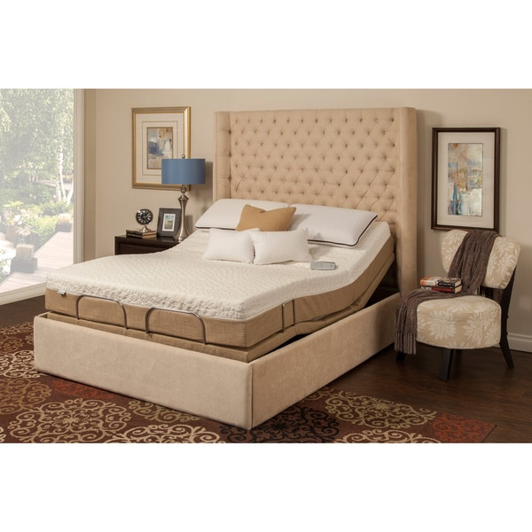 Sleep Zone Malibu 12-inch Queen-size Memory Foam and Latex Adjustable Mattress Set