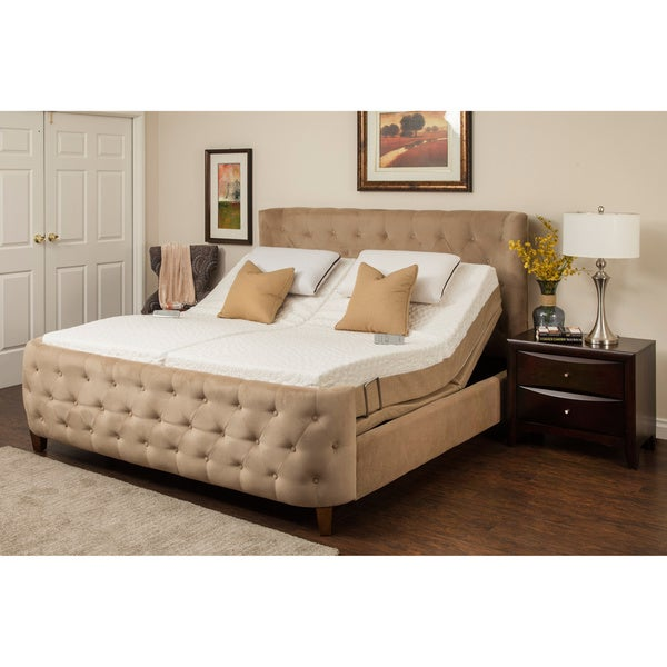 Sleep Zone Malibu 12-inch Split King Memory Foam and Latex Adjustable Mattress Set