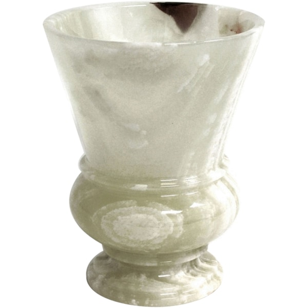 Nature Home Dcor White Onyx Waste Basket of Mediterranean Collection.