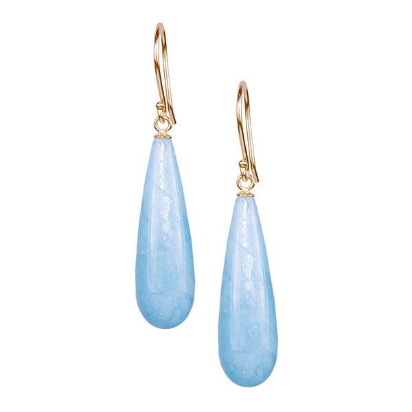 14k Yellow Gold Amazonite Drop Hook Earrings