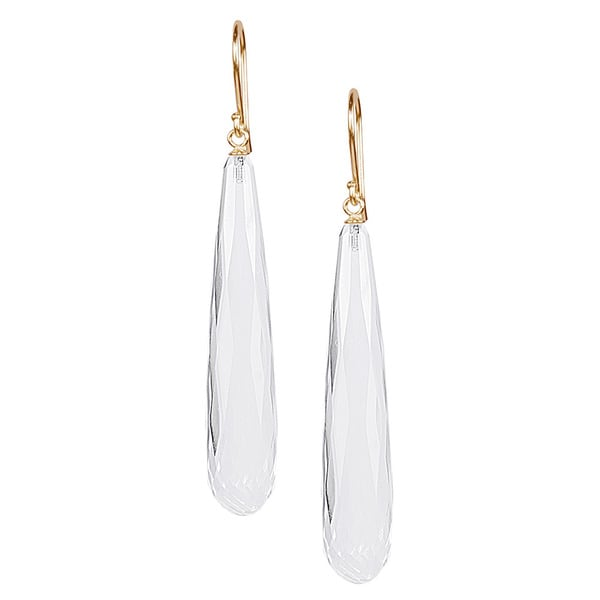 14k Yellow Gold Crystal Faceted Drop Hook Earrings