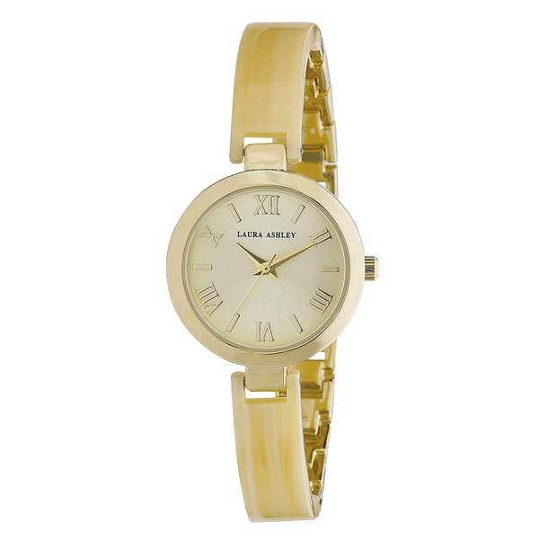 Laura Ashley Ladies Bone/ Gold Resin Link Watch