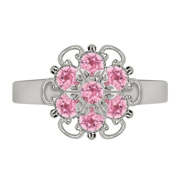 Lucia Costin Sterling Silver Light Pink Crystal Fancy Enriched Ring
