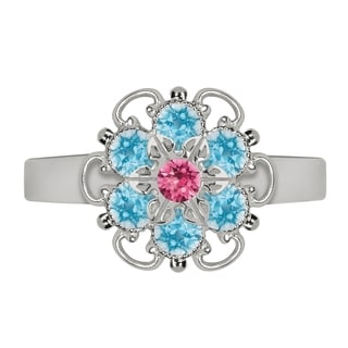 Lucia Costin Sterling Silver Pink/ Light Blue Crystal Ring