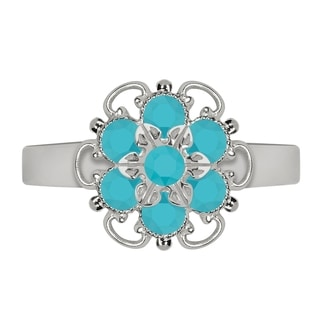 Lucia Costin Sterling Silver Turquoise Crystal Ring