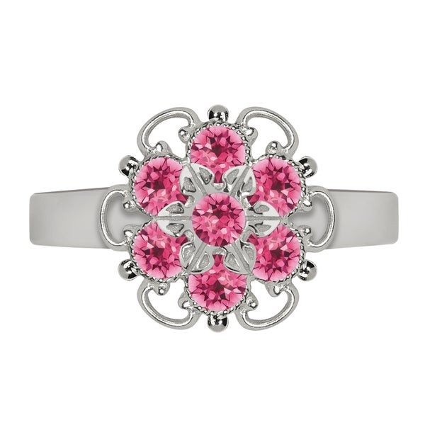 Lucia Costin Sterling Silver Pink Crystal Cute Dot Ring