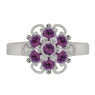 Lucia Costin Sterling Silver Violet Crystal Twisted Line Ring