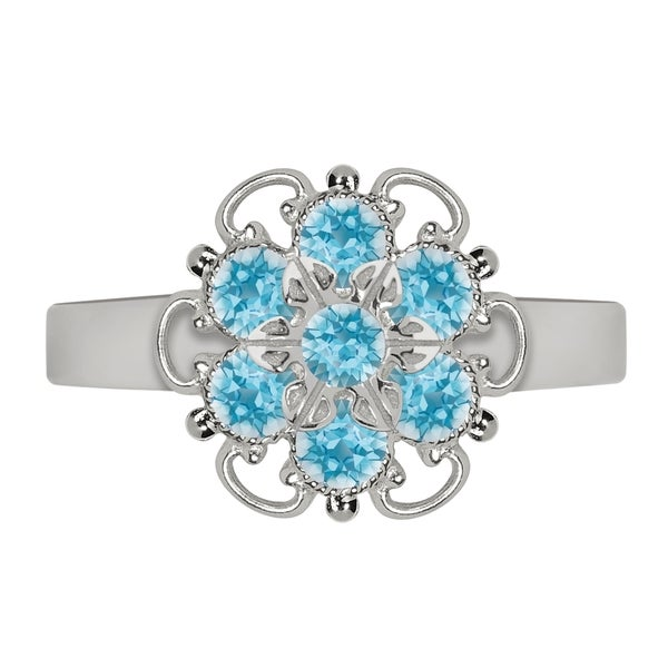 Lucia Costin Sterling Silver Light Blue Crystal Adjustable Ring 16902016