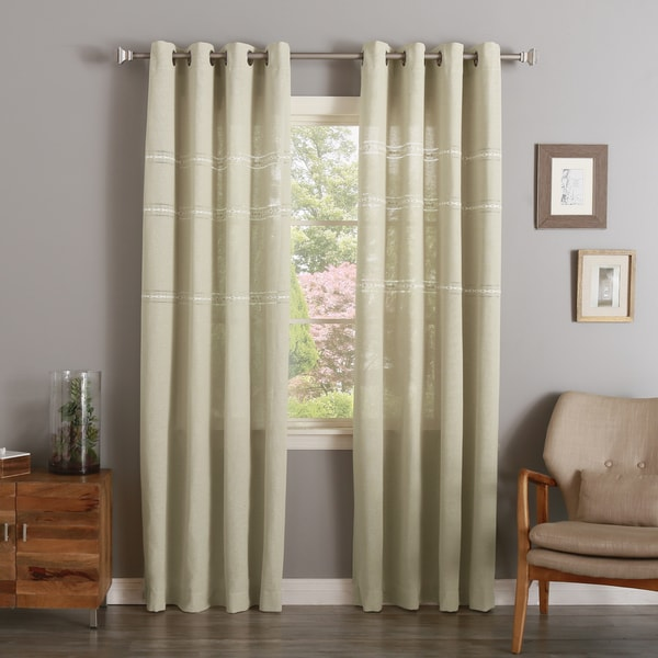 Aurora Home Stitch Detail Opaque Silver Grommet Top Curtains
