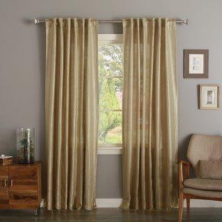 Aurora Home Metallic Shimmer Linen Foil Curtain Panel Pair