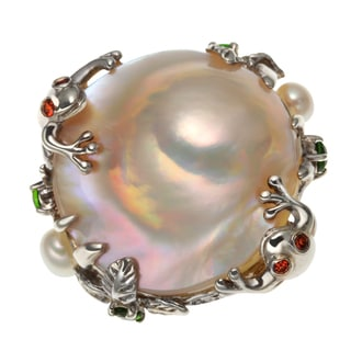 Sterling Silver .67ct 25mm Cultured Pearl and Multi Gem Frog/Lily Pad Ring