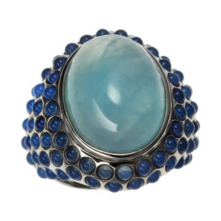 Sterling Silver 14.662ct 18x13mm Oval Aquamarine and Blue Agate Ring