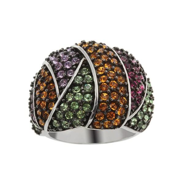 Sterling Silver Swarovski Elements Crisscross Wide Band Ring