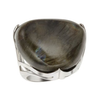 Sterling Silver 26.1ct 24.5mm Triangle Shaped Labradorite Ring