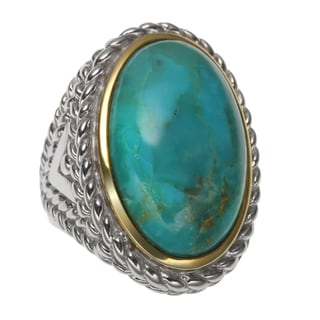 Sterling Silver 12.35ct Two Tone 23x14mm Oval Turquoise Rope Textured Ring
