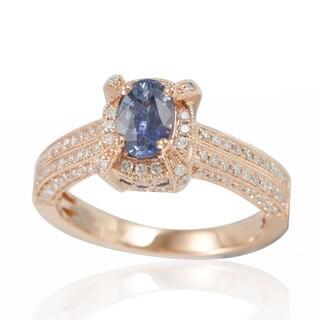 Suzy Levian 14K Rose White Diamonds Ceylon Sapphire Ring