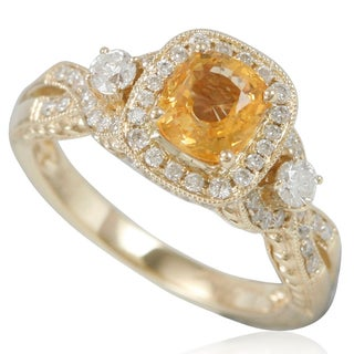 Suzy Levian 14K Yellow Gold Natural Orange Sapphire and Diamond Ring