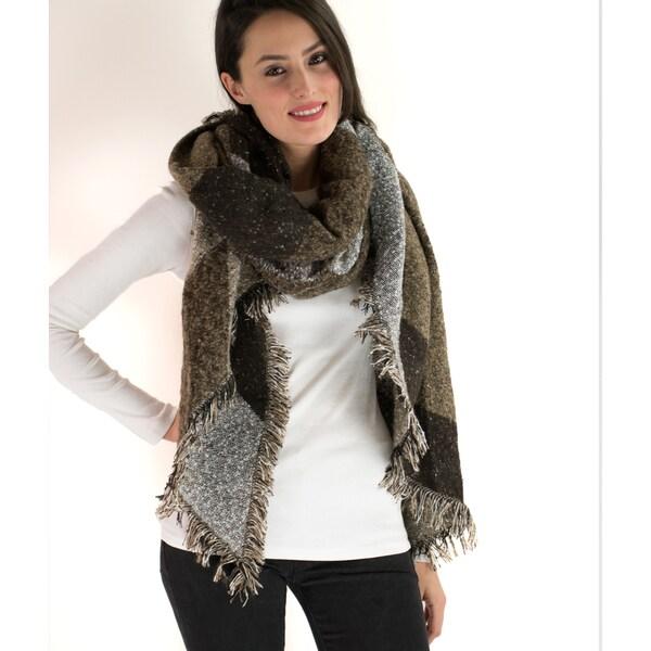 Le Nom Colorblock Pattern Fringe-end Western Style Blanket Scarf
