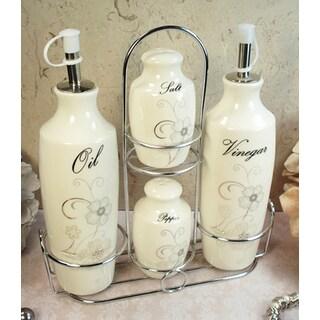 D'Lusso Designs Shimmer Design 4-piece Oil Vinegar Salt Pepper Set with Metal Caddy