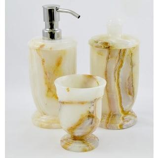 Nature Home Decor White Onyx 3-Piece Bathroom Accessory Set of Atlantic Collection.