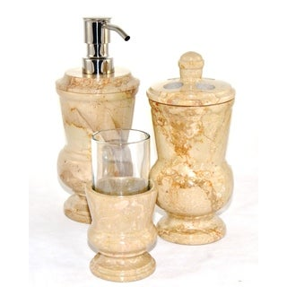 Nature Home Decor Sahara Beige Marble 3-Piece Bathroom Accessory Set of Mediterranean Collection.