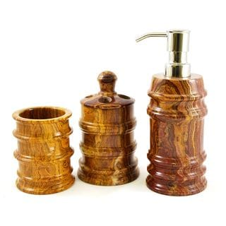 Nature Home Decor Multi Onyx 3-Piece Bathroom Accessory Set of Bengal Collection.