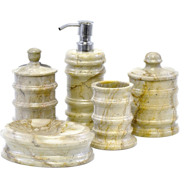 Nature Home Decor Sahara Beige Marble 5-Piece Bathroom Accessories Set of Bengal Collection.