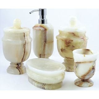 Nature Home Decor White Onyx 5-Piece Bathroom Accessories Set of Tasmanian Collection.