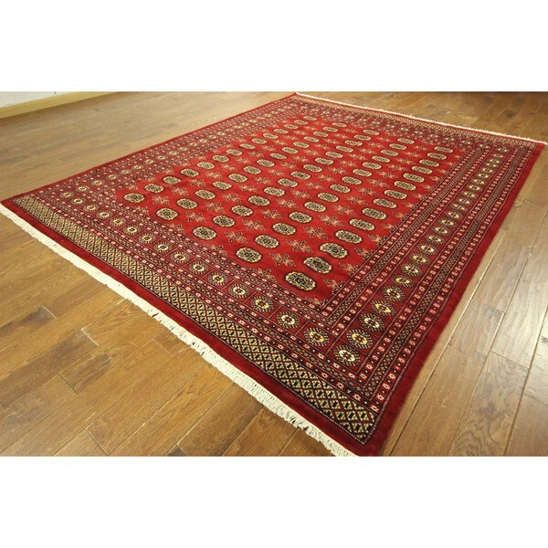 H8168 Red Gul Turkmon Motif Bokahra Hand-knotted Wool Oriental Area Rug (10' x 13')
