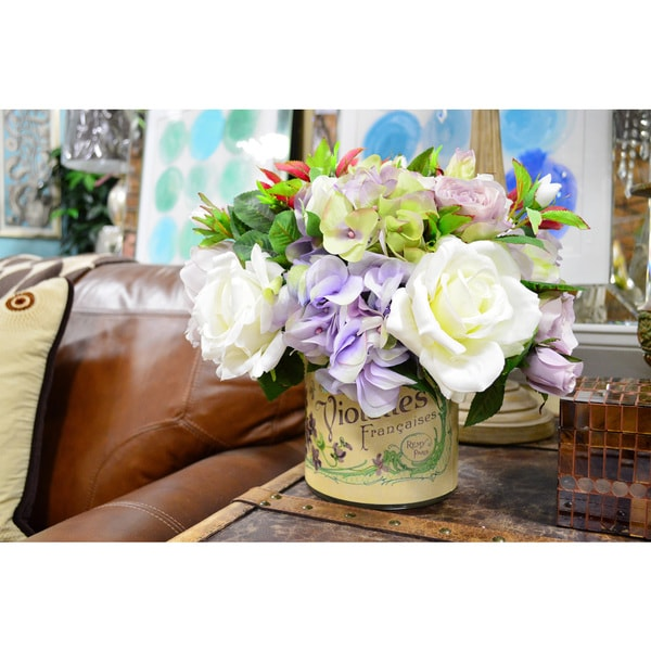 Mixed Lavender Hydrangea and Rose Silk Floral Arrangement in French Emblem Pot