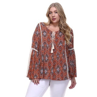 Women's Plus Size Abstract Print Blouse with Lace Bell Sleeves