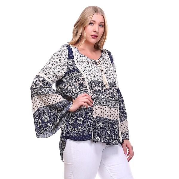 Plus Size Socialite Contrast Crochet Tie Detail Blouse