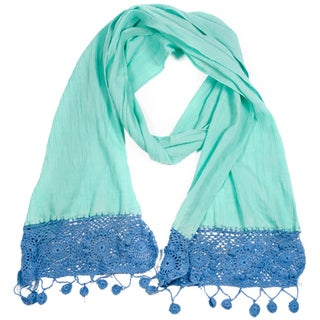 Dyed Mist Green Cotton Crochet Scarf (India)