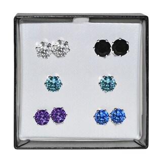 Surgical Steel and Silvertone Multicolor 7-mm Cubic Zirconia Stud 5-pair Earring Set