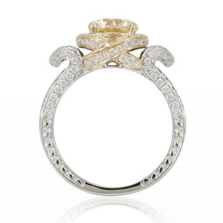 Suzy Levian 14K Two-Tone Gold and Yellow Diamond Pave Vintage Inspired Ring