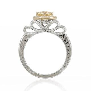 Suzy Levian 14K White Gold Diamond Yellow Centerstone Ring