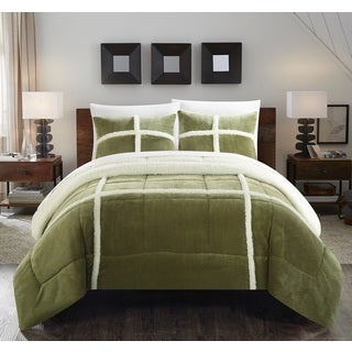Chic Home Chiron Green Mink Sherpa Lined 3-piece Comforter Set