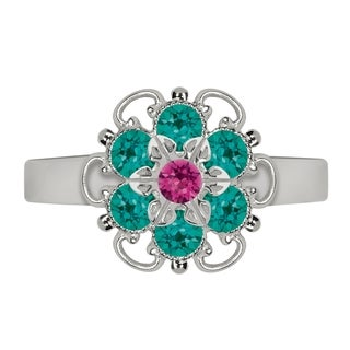 Lucia Costin Sterling Silver Fuchsia/ Turquoise Green Crystal Dot Ring