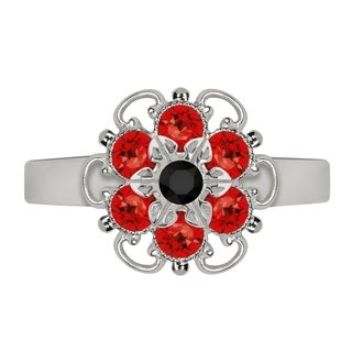 Lucia Costin Sterling Silver Black/ Red Crystal Adjustable Ring
