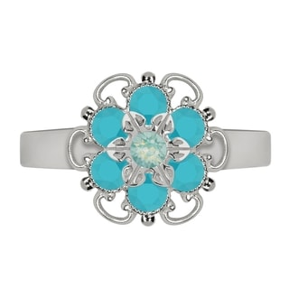 Lucia Costin Sterling Silver Mint Blue/ Turquoise Crystal Ring