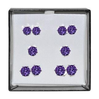 Surgical Steel and Silvertone Purple Cubic Zirconia Stud 5-pair Earring Set