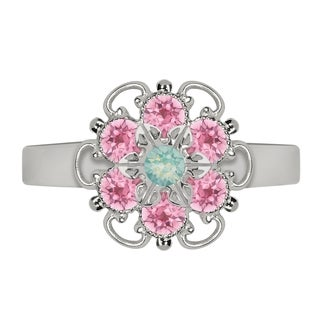 Lucia Costin Sterling Silver Mint Blue/ Light Pink Crystal Ring
