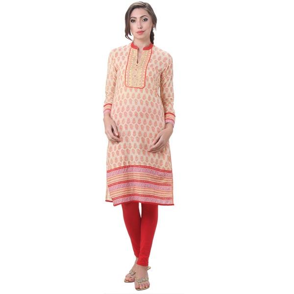 In-Sattva Women's Indian Exotic Floral Print Kurta Tunic Top