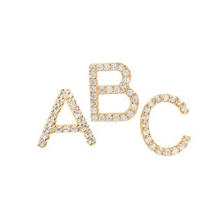 Pori 18k Yellow Gold-plated Sterling Silver Cubic Zirconia Initial Stud Earrings
