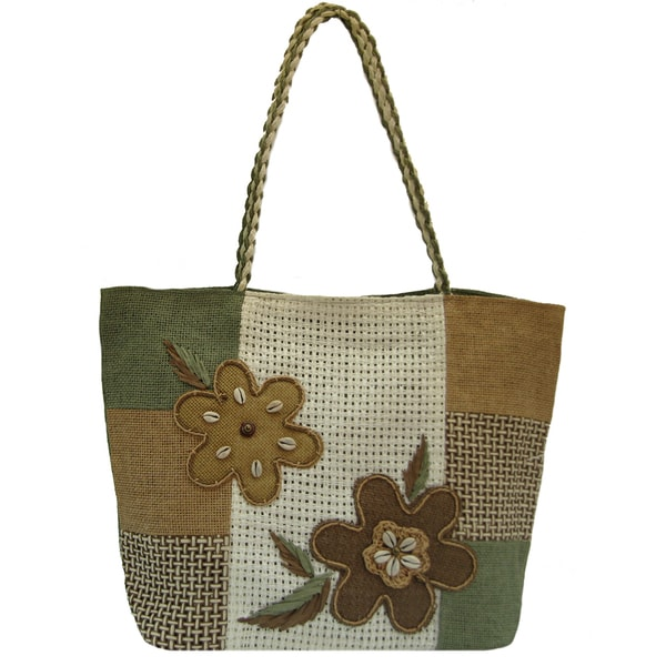 Handmade Linen Green/ Brown Floral Tote Bag