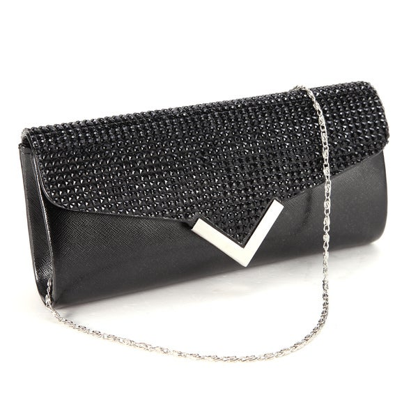 Black Bling Flap V-detail Evening Clutch