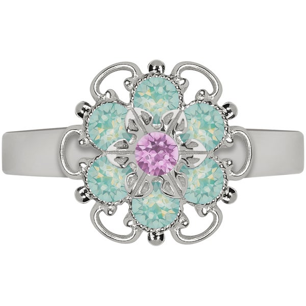 Lucia Costin Sterling Silver Lilac/ Mint Blue Crystal Adjustable Ring